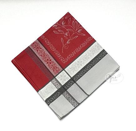 Olivia Red/Gray Jacquard Napkin - set of two