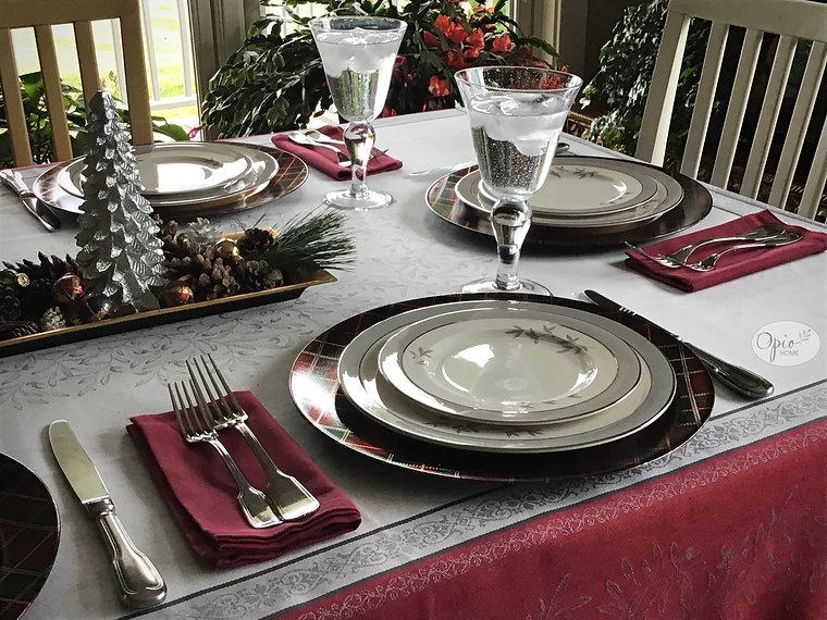 Olivia Red Jacquard Tablecloth