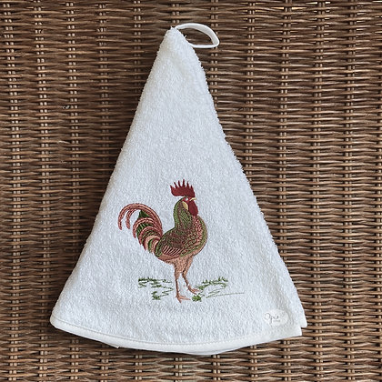 Round Towel - Rooster White