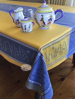 Grignan Yellow/Blue Jacquard Tablecloth - $79-159