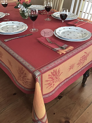Senanques Red Jacquard Tablecloth - $79-159