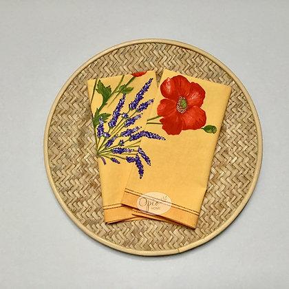 Poppies Yellow Napkin - set of two