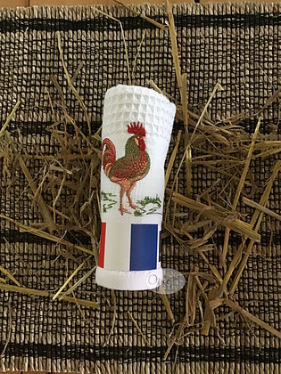 Honeycomb Rooster Towel - White