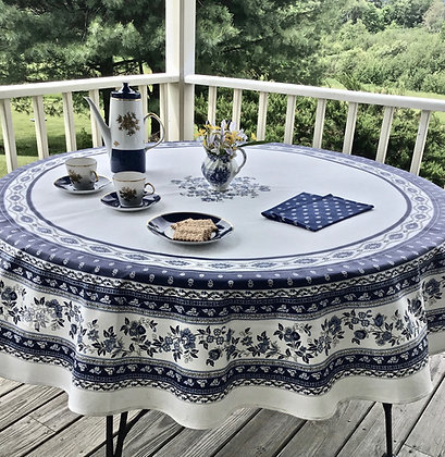 Avignon - Blue Round Coated Cotton