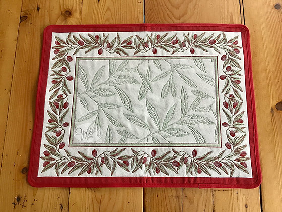 Auriol Red Tapestry Weave Placemat