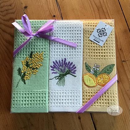 Boxed Set of Provencal Honeycomb Towels - Green
