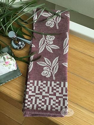 Olive Tea Towel - Burgundy