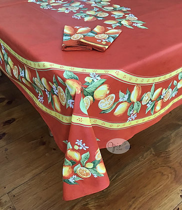 Citron Orange Design In Place Rectangular - Coated Cotton  -  $99
