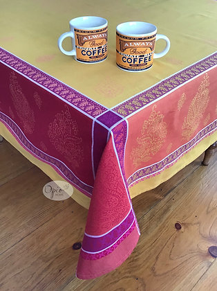 Cassis Red Jacquard Tablecloth - $79-159