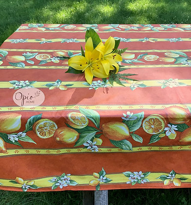 Citron Orange Rectangular Striped Coated Cotton