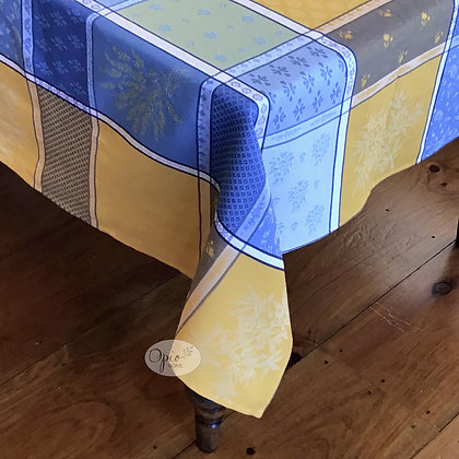 Valbonne Yellow/Blue Jacquard Tablecloth - $85-165