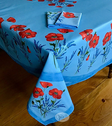 Poppy Blue Clair Design in Place Rectangular - Coated Cotton  -  $99