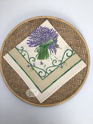Bouquet Lavande Ivory Napkin - set of two