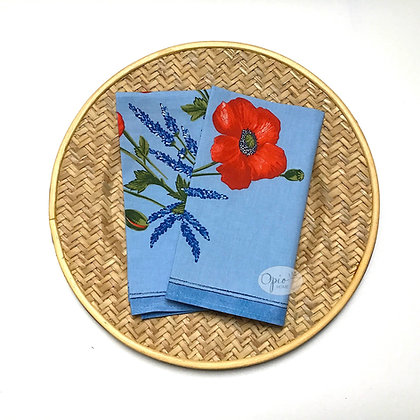 Poppies Blue Clair Napkin - set of two