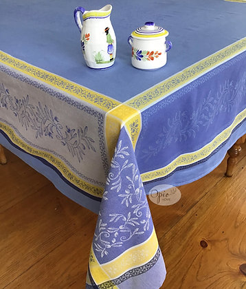 Olivia Blue Jacquard Tablecloth