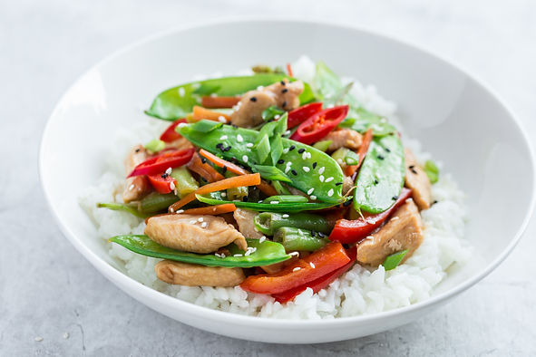 Stir fry Chicken and Vegetables with Ric