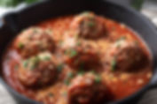 Beef and Black Pudding Meatballs in Toma