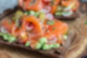 Rye, Avocado and Salmon Open Sandwich.jp