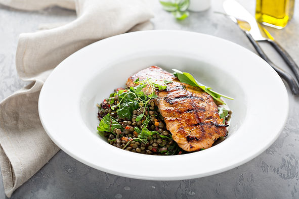 Harissa glazed salmon with puy lentils a