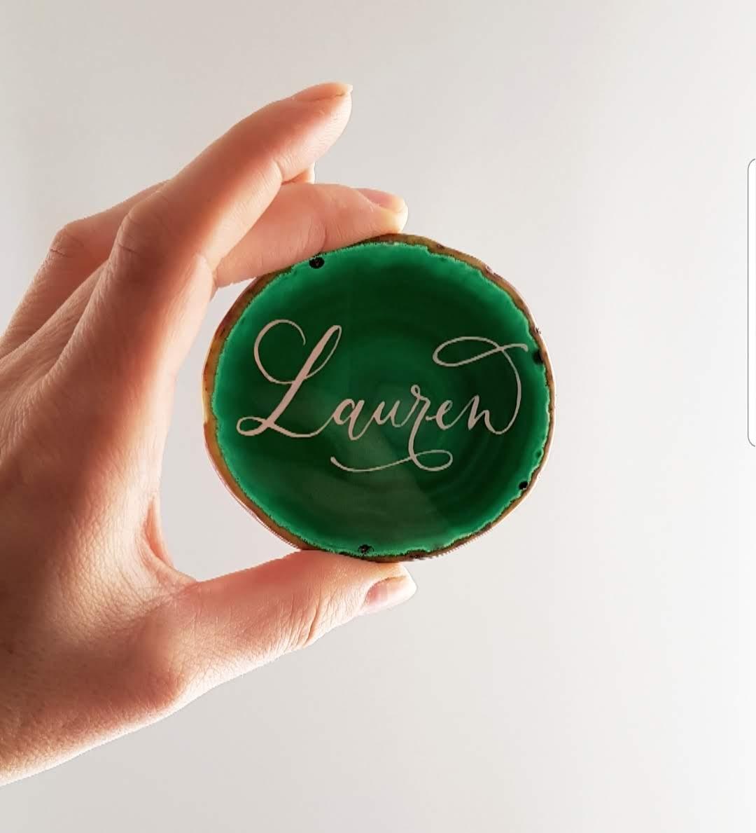 green agate name sign