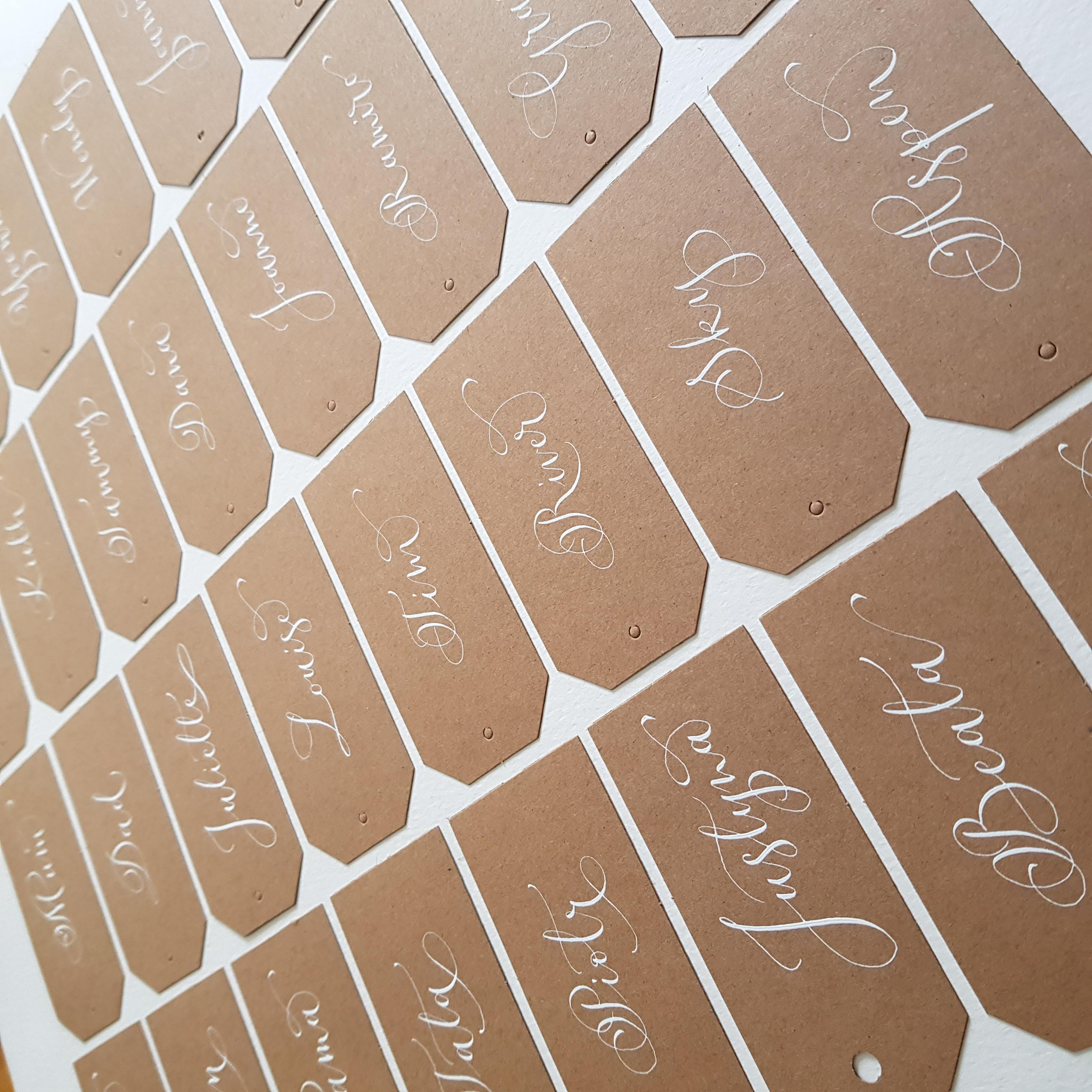 white ink kraft name tags