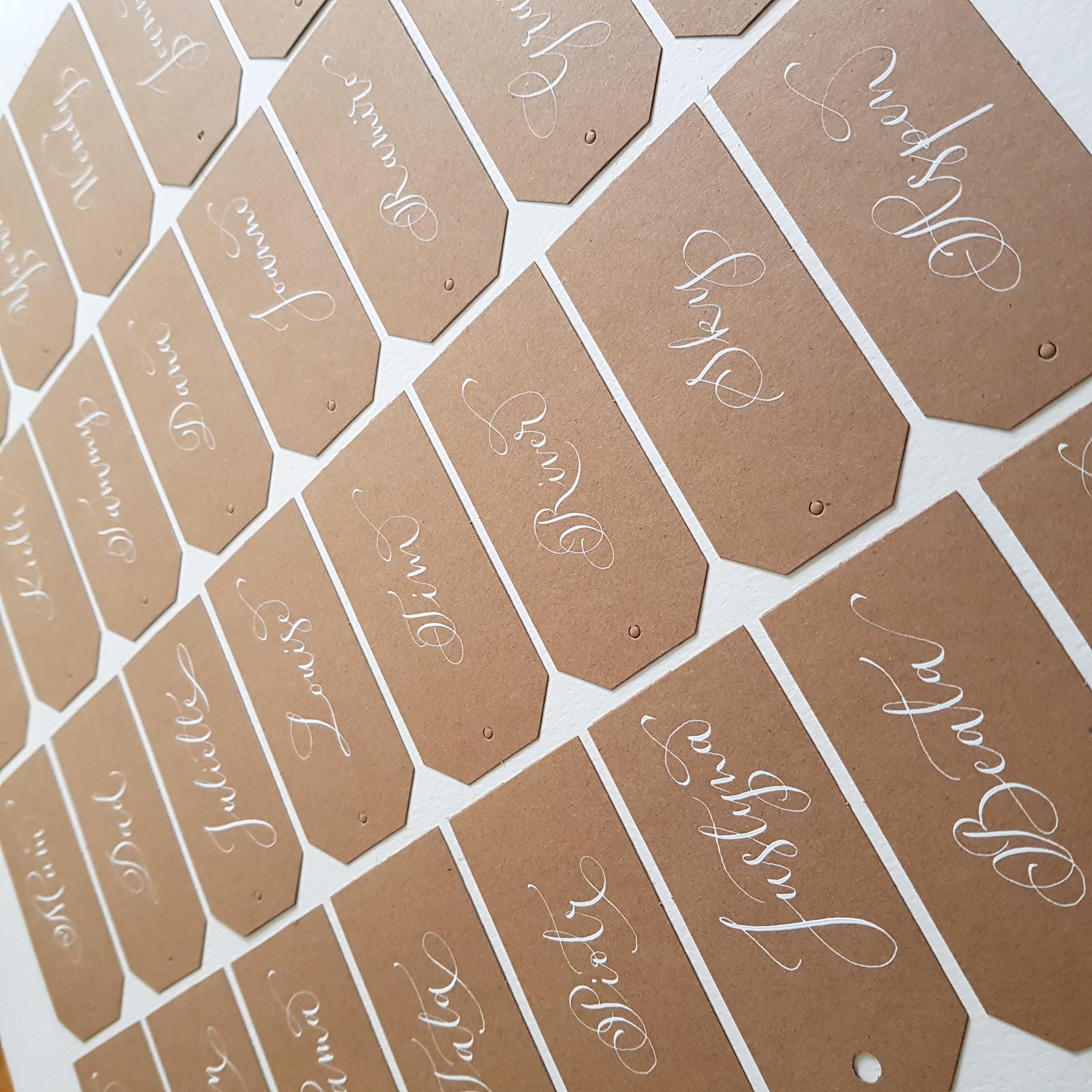 white ink kraft name tags