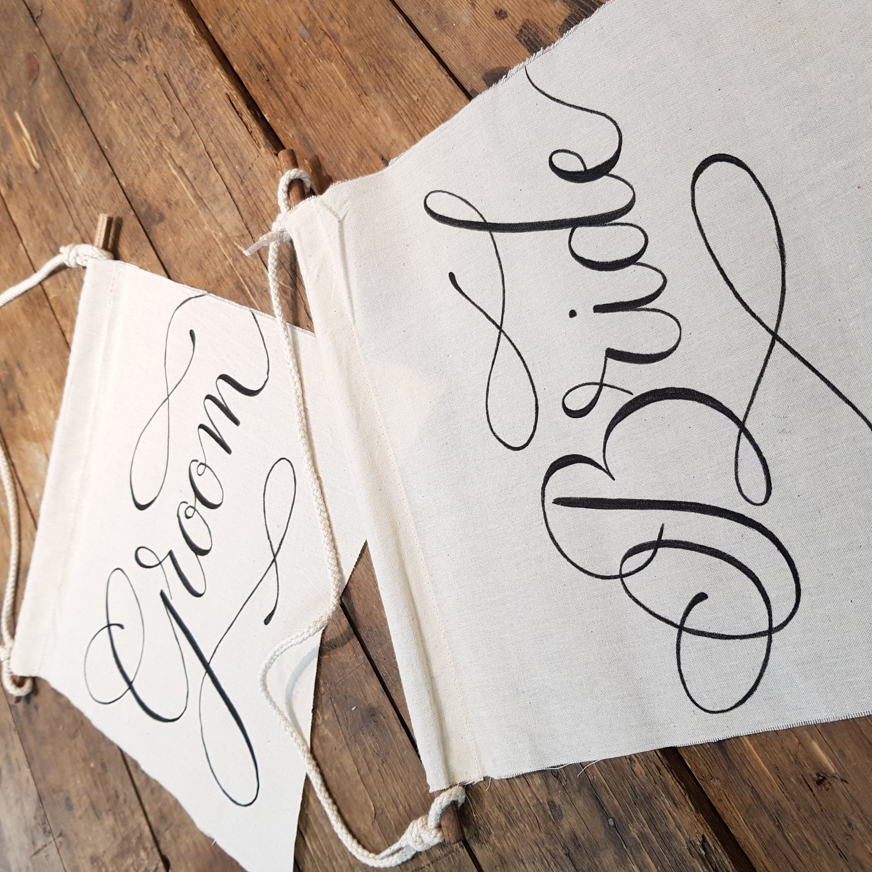 bride and groom fabric chair signs