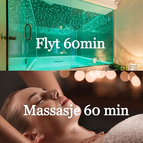Gavekort: Flyterom 60 min + Massasje 60 min
