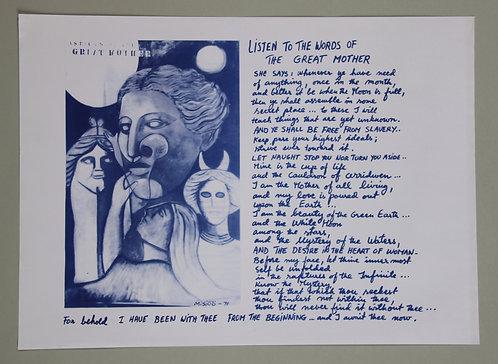 Monica Sjöö A3 Poster - Doreen Valiente Listen to the Words of the Great Mother