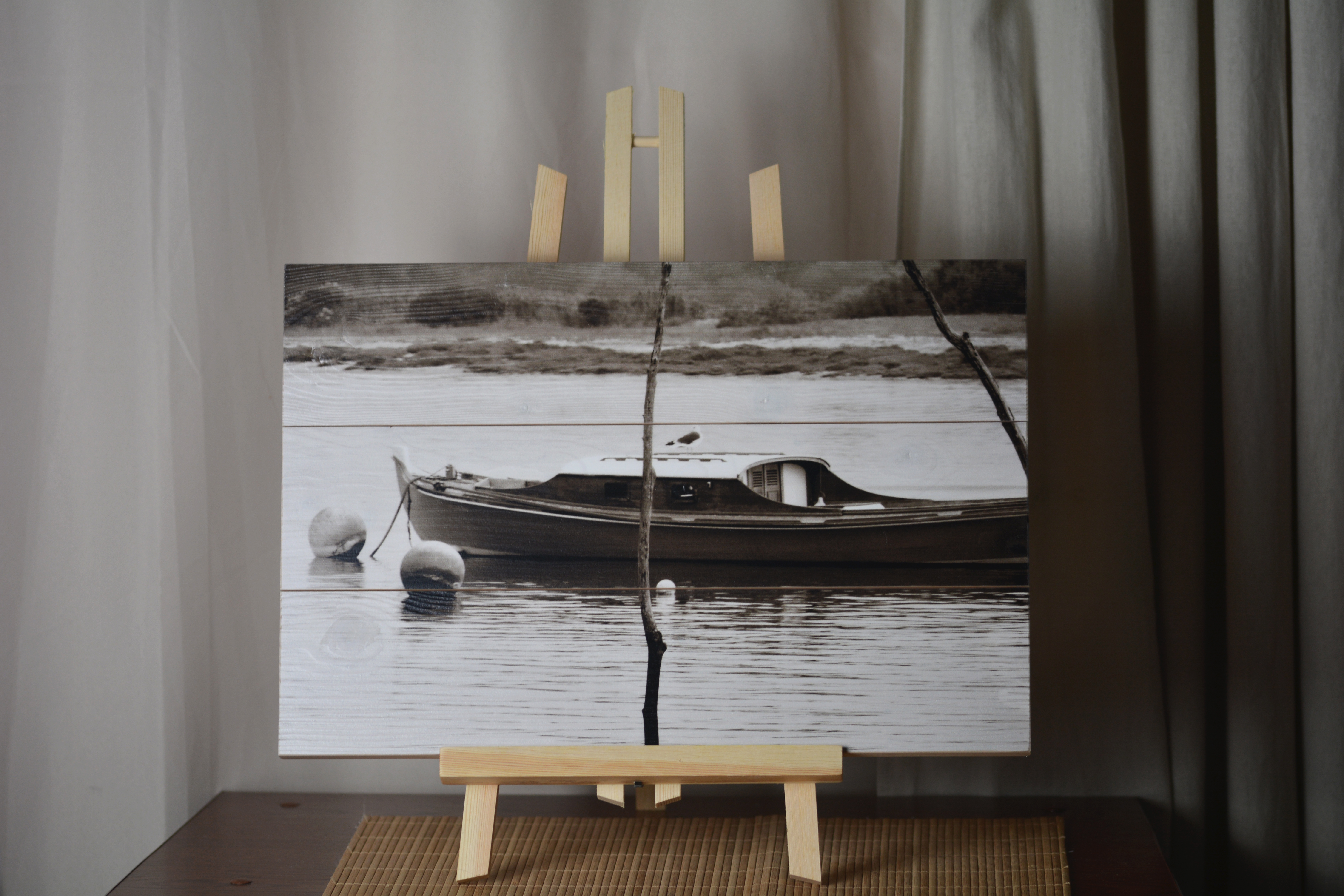 Impression sur bois (pin) avec attaches