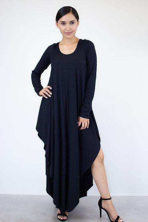 Asymmetric Long Sleeve Maxi Dress