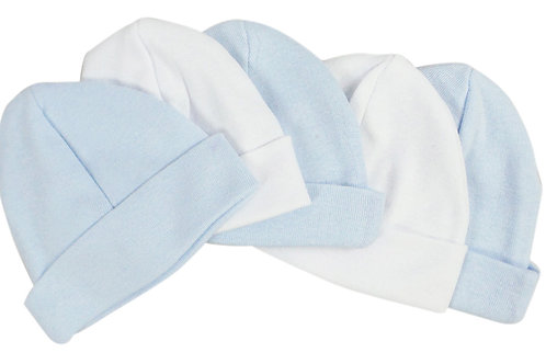 Blue & White Baby Caps (Pack of 5)
