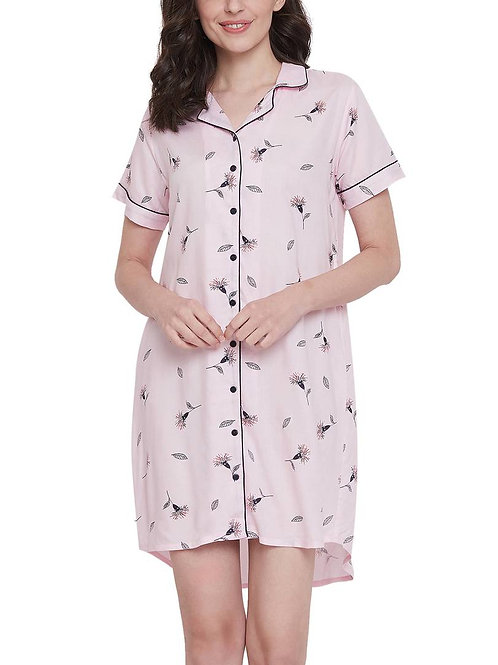 Clovia Button Me Up Pretty Florals Short Night Dress in Light Pink -