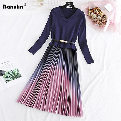 Autumn Winter Elegant Knitted Patchwork Gradient Pink Pleated dress