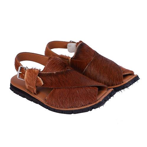 Coronado Brown Color Cow Hair Tan Waxed Shaded Mens Leather Anti Slip