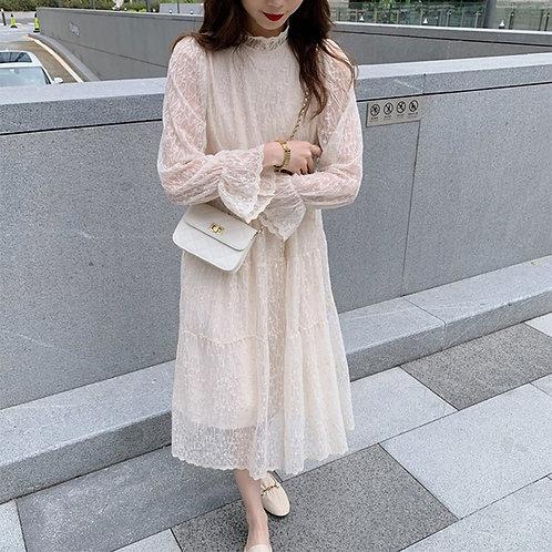 Autumn  Winter Women's Dress Long Casual Basic  Lace