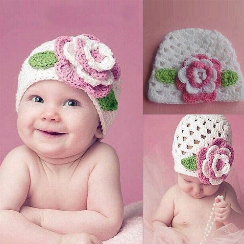 Baby Girls Cute Big Flower Knit Hat Cap for Baby