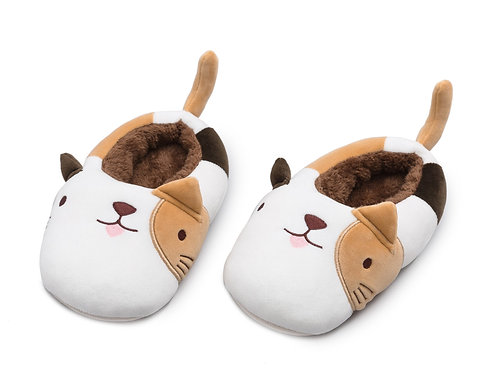 Cat Plushie Slippers - Brown