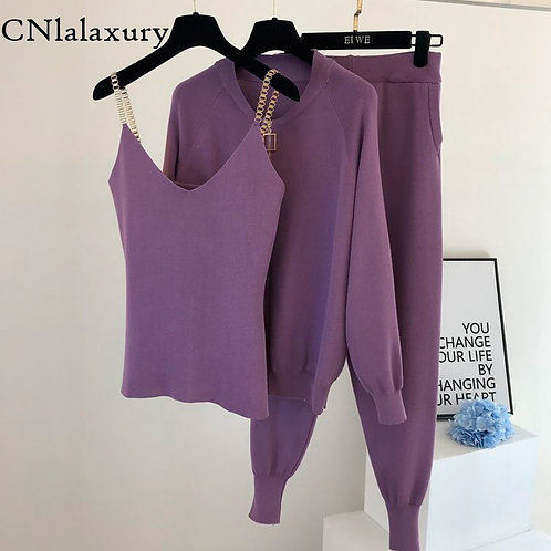 2020 New 3pcs  Suit Long-Sleeved  Top Pants Women