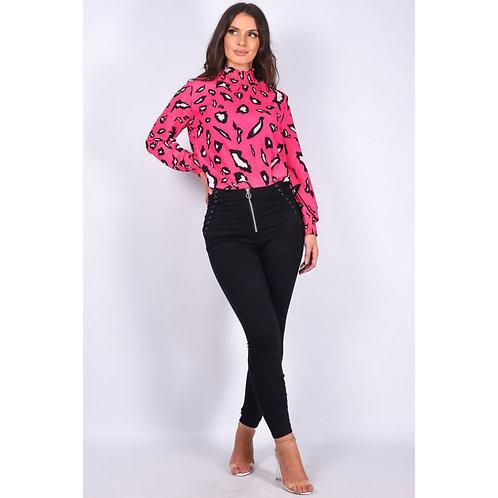 Black Denim Lace Up Detail Zip Front Skinny Jean