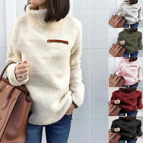 ck Long Sleeve Pullover Coats Female Plush Warm Tunic Clothing Plus Size 5XL