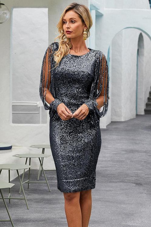 Black Sequin Tassel Sleeve Bodycon Party Dress