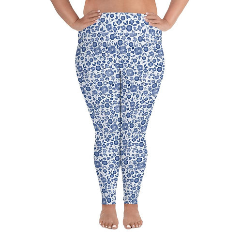 Classic Blue Watercolour Floral Plus Size Leggings
