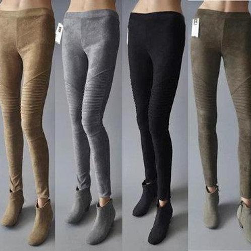 Autumn Suede Leggings Solid High Elastics Bodycon Pencil Pants Fashion