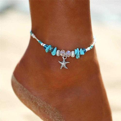 Boho Crystal Starfish Anklet Ankle Bracelet