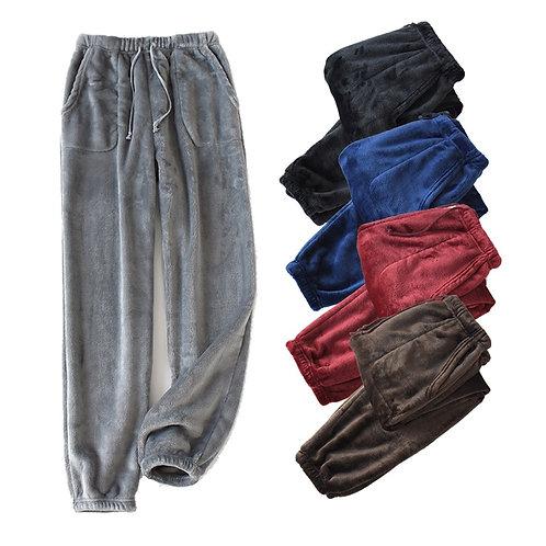 ama High Waist Loose Plus Velvet Home Pants Coral Fleece Male Sleepwear