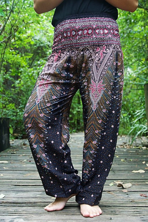 Brown Pink PEACOCK Women Boho Pants Hippie Pants Yoga Pants