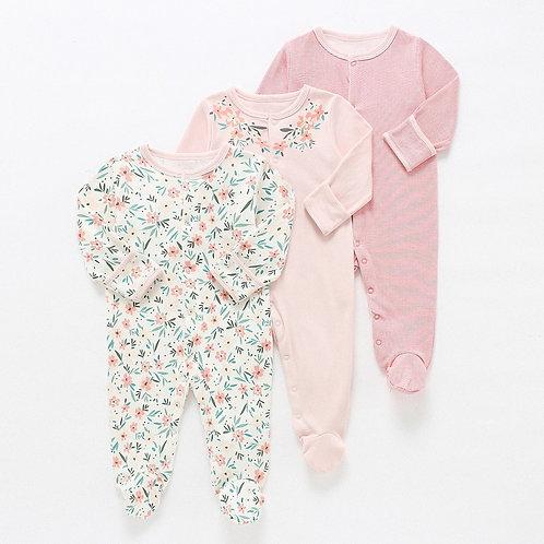 Baby Rompers 3pcs Flower Sleepsuit