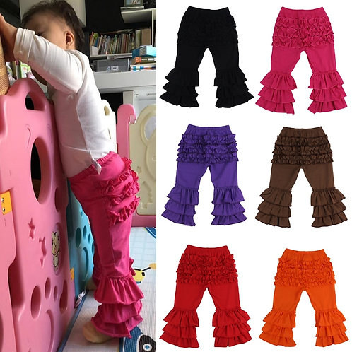 Boutique Toddler Girls Triple Ruffle Flare Pants