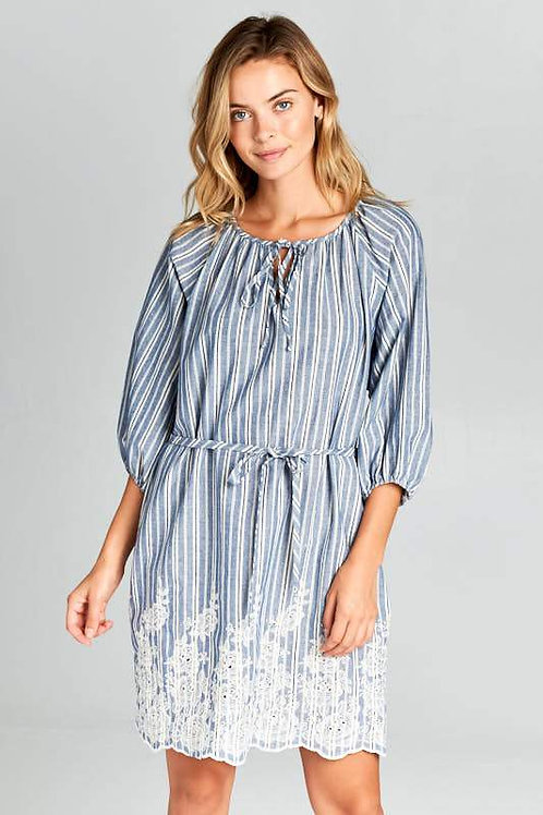 Denim Blue Embroidered Dress with Tie